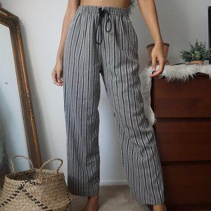 Vintage High Rise Stripe Straight Wide Leg Pants